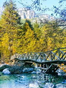 One of the wooden bridges you cross while hiking Enipeass Gorge in Mount Olympus National Park, Greece