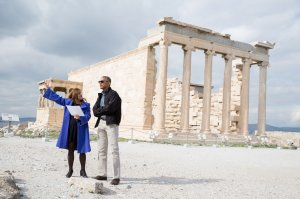 President Barack Obama visits the Erechtheion, a temple dedicated to both Athena and Poseidon, during a tour of the Acropolis in Athens, Greece, Nov. 16, 2016. Dr. Eleni Banou, Director, Ephorate of Antiquities for Athens, Ministry of Culture, leads the tour. (Official White House Photo by Pete Souza)